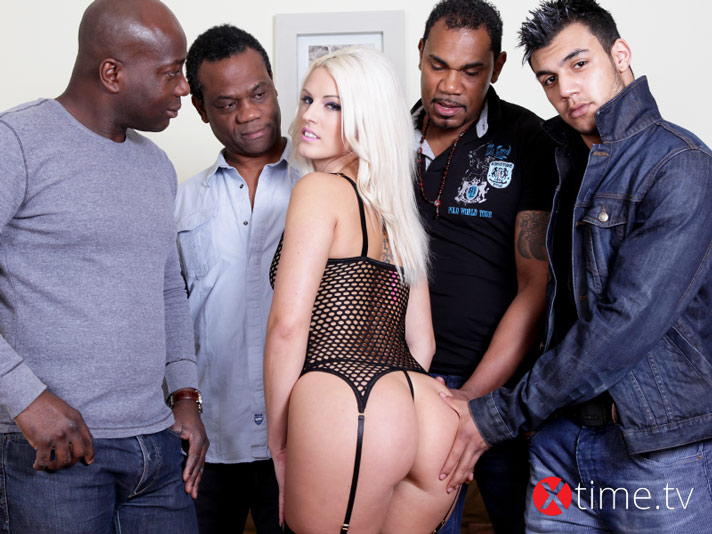 Blonde on Black Gang-Bang